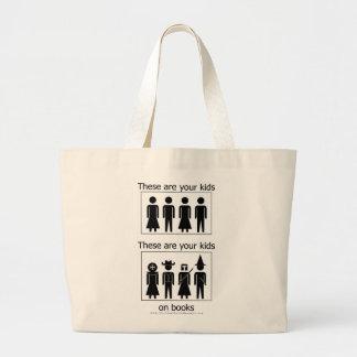 Sus niños en los libros - bolso bolsa tela grande