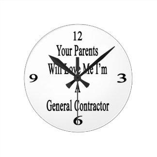 Sus padres me amarán que soy un general Contractor Reloj Redondo Mediano
