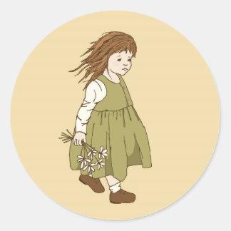 Sus pequeños pegatinas de las flores blancas etiquetas redondas