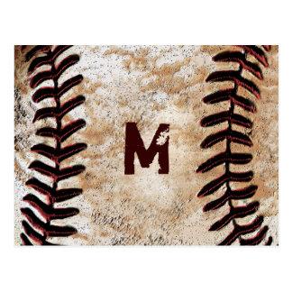 Sus postales del béisbol del vintage del monograma