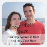 Sus propios pegatinas de la foto y del texto del calcomanias cuadradas