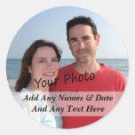 Sus propios pegatinas de la foto y del texto del etiqueta redonda