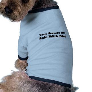 Sus secretos son seguros conmigo las citas camiseta con mangas para perro