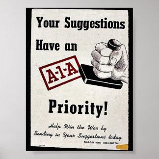 Sus sugerencias tienen una prioridad de A-1-A Póster