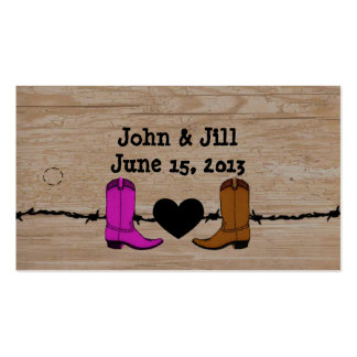 Sus y sus botas de vaquero que casan la etiqueta tarjetas de negocios
