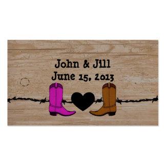 Sus y sus botas de vaquero que casan la etiqueta tarjetas de visita
