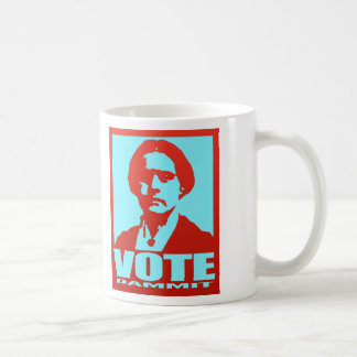 Susan B. Anthony Vote Dammit Pop Art Red and Aqua Coffee Mug