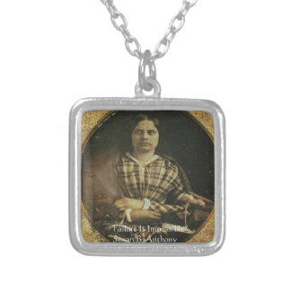 Susan B Anthony Wisdom Quote Gifts & Cards Silver Plated Necklace