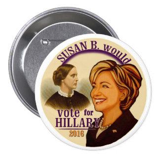 Susan B. para Hillary Pin Redondo De 3 Pulgadas