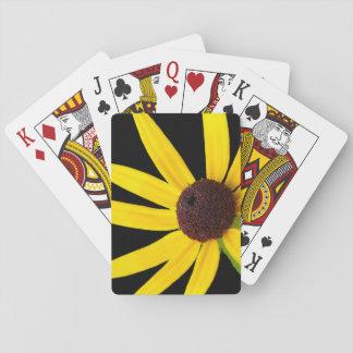 Susan observada ennegrecida en fondo negro barajas de cartas