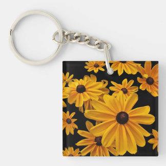 Susan observada negro amarillo floral florece llavero cuadrado acrílico a doble cara