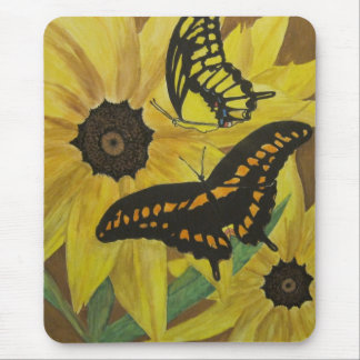 susan observada negro con la butterflys-acuarela mousepad