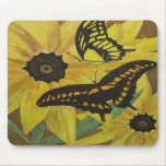 susan observada negro con la butterflys-acuarela alfombrillas de ratón