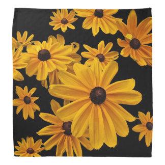 Susan observada negro florece pañuelo floral bandanas