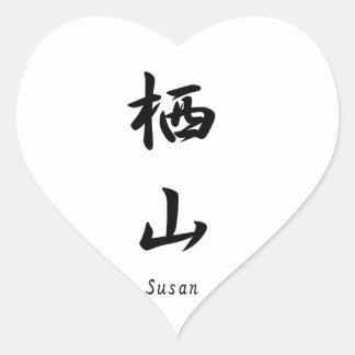 Susan tradujo a símbolos japoneses del kanji calcomania de corazon personalizadas