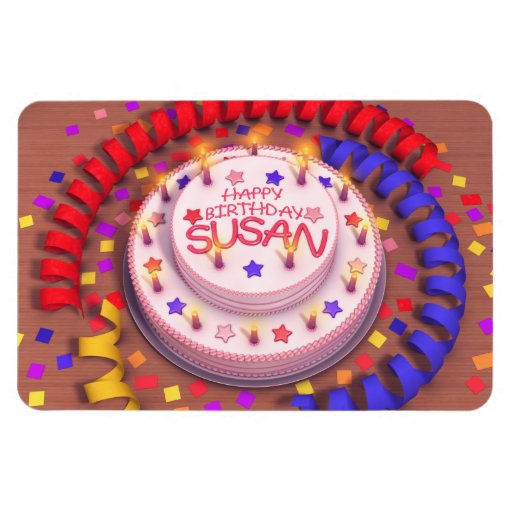 Susan's Birthday Cake Rectangle Magnet