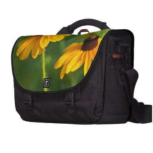 Susans observado negro floreciente bolsa de ordenador