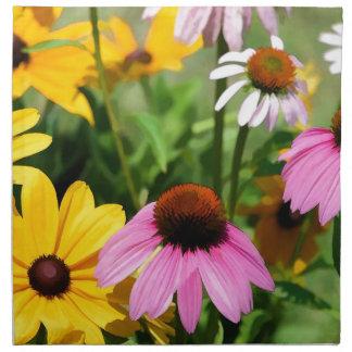 Susans observado negro y jardín rosado de la marga servilletas