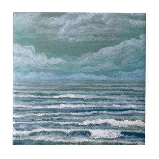 Suscitados regalos del arte de la playa de la pint azulejo cuadrado pequeño