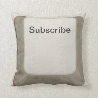 Suscriba el botón la almohada blanca gris de la ll