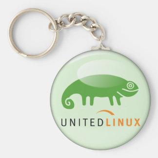 Suse United Linux Basic Round Button Keychain