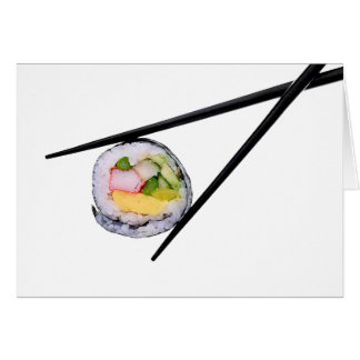 Sushi and Black Chopsticks Greeting Card