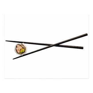 Sushi and Black chopsticks - Customized Postcard
