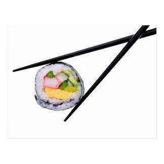 Sushi and black chopsticks  sushi, chopsticks, ric postcard