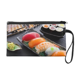 Sushi and rolls wristlet clutches