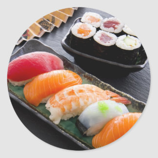 Sushi and rolls classic round sticker