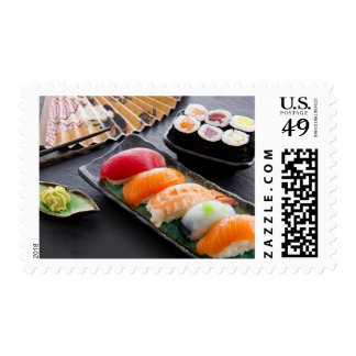 Sushi and rolls postage stamps