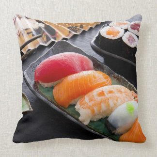 Sushi and rolls throw pillow