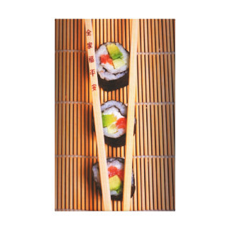 Sushi and wooden chopsticks canvas print