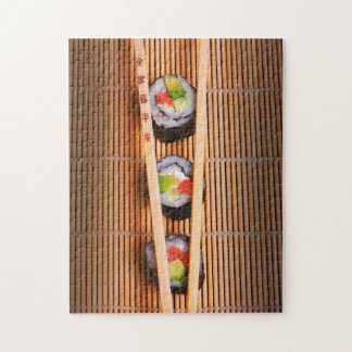 Sushi and wooden chopsticks jigsaw puzzle