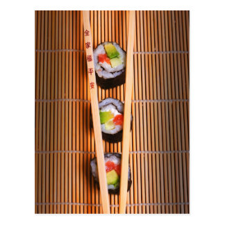 Sushi and wooden chopsticks postcard