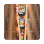Sushi and wooden chopsticks puzzle coaster