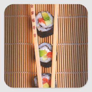 Sushi and wooden chopsticks square sticker