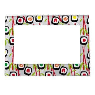 Sushi background magnetic photo frame