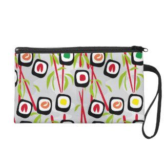 Sushi background wristlet purse