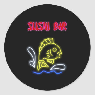 Sushi Bar Sign Classic Round Sticker