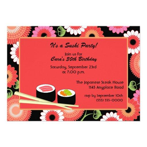 Personalized chopsticks invitations custominvitations4u sushi birthday invitation filmwisefo