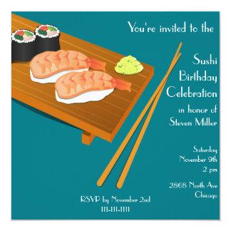 Sushi Birthday Invitation Teal