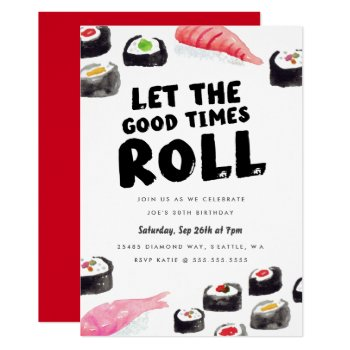 Sushi Birthday Party Card by origamiprints at Zazzle