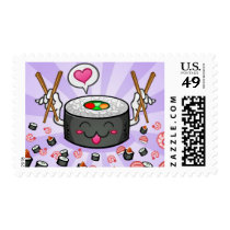 Sushi Cartoon Character Eating Lots of Shrimp Postage