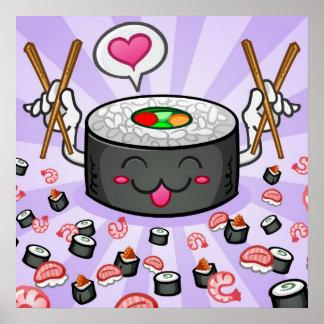 Sushi Cartoon Character Eating Lots of Shrimp Poster