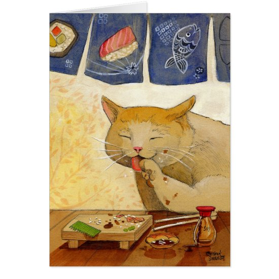 """Sushi Cat  """"All Done!"""" Card"""