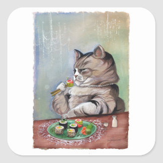 Sushi Cat Fancy Feast Square Sticker