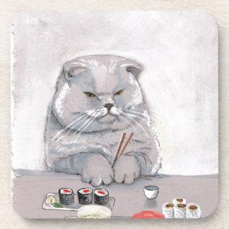 Sushi Cat Grumps Drink Coaster