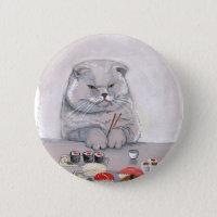 Sushi Cat Grumps Pinback Button