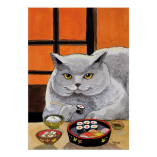 Sushi Cat Later Afternoon Snack Poster